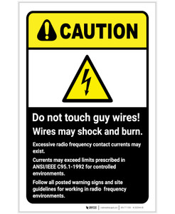 Caution: Do Not Touch Guy Wires ANSI with Hazard Icon Portrait - Label