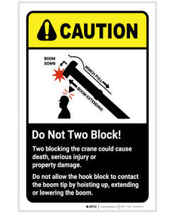 Caution: Do Not Two Block - Two Blocking the Crane Could Cause Injury ANSI Portrait - Label