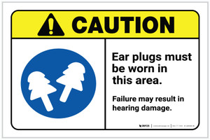 Caution: Ear Plugs Must Be Worn In This Area with Icon ANSI Landscape - Label