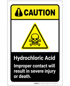 Caution: Hydrochloric Acid - Improper Contact Will Result in Injury/Death ANSI Portrait - Label