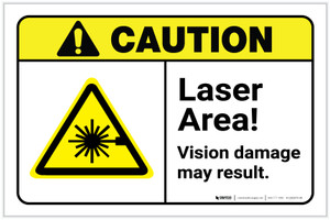Caution: Laser Area Vision Damage May Result ANSI Landscape - Label