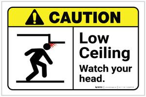 Caution: Low Ceiling Watch Your Head ANSI Landscape - Label