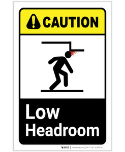 Caution: Low Headroom ANSI Portrait - Label