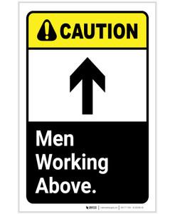 Caution: Men Working Above ANSI Portrait - Label