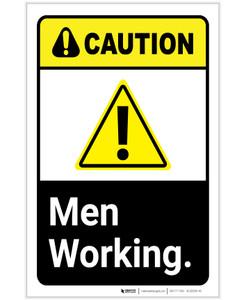 Caution: Men Working ANSI Portrait - Label