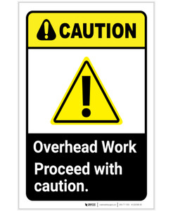 Caution: Overhead Work Proceed With Caution ANSI Portrait - Label