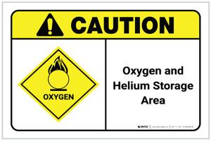 Caution: Oxygen Helium Storage Area ANSI Landscape - Label