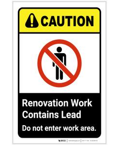 Caution: Renovation Work Contains Lead ANSI Portrait - Label