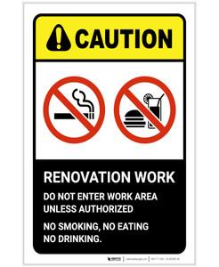 Caution: Renovation Work No Smoking Eating ANSI Portrait - Label