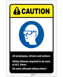 Caution: Safety Glasses Required At All Times ANSI Portrait - Label