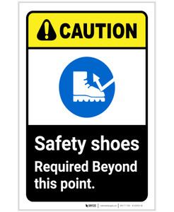 Caution: Safety Shoes Required Beyond This Point ANSI Portrait - Label