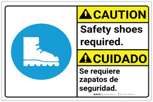 Caution: Safety Shoes Required Caution Bilingual Sign Landscape - Label