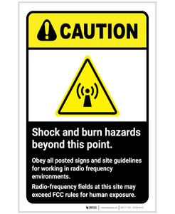 Caution: Shock And Burn Hazard ANSI Portrait - Label
