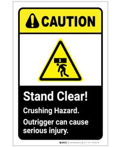 Caution: Stand Clear Crushing Hazard ANSI Portrait - Label