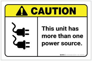 Caution: This Unit Has More Than One Power Source ANSI Landscape - Label