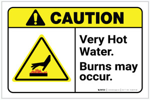 Caution: Very Hot Water Burns May Occur ANSI Landscape - Label