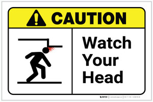 Caution: Watch Your Head ANSI Landscape - Label