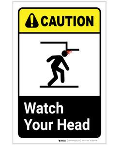 Caution: Watch Your Head ANSI Portrait - Label