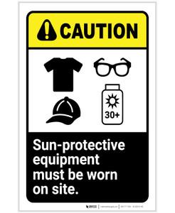 Caution: Wear Sun Protective Equipment ANSI Portrait - Label