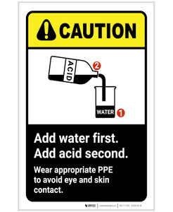 Caution: Add Water First Acid Second Wear PPE ANSI Portrait - Label