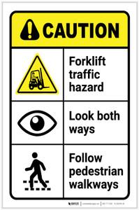 Caution: Forklift Traffic Hazard Look Both Ways Follow Walkways ANSI Landscape - Label