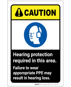 Caution: Hearing Protection Required In Area Wear PPE ANSI Portrait - Label