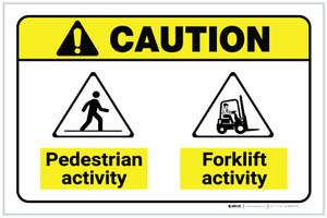 Caution: Pedestrian Activity Forklift Activity ANSI Landscape - Label