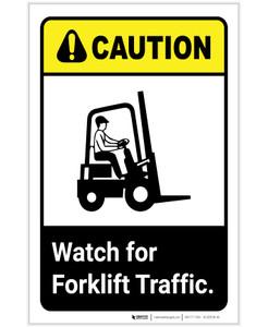 Caution: Watch For Forklift Traffic ANSI Portrait - Label