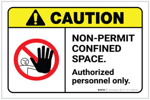 Caution: Non Permit Confined Space ANSI Landscape - Label