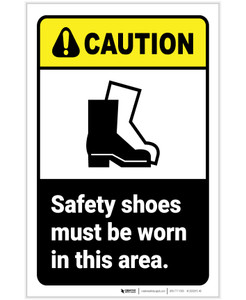 Caution: Safety Shoes Must Be Worn In Area ANSI Portrait - Label
