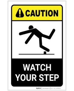 Caution: Watch Your Step ANSI Portrait - Label