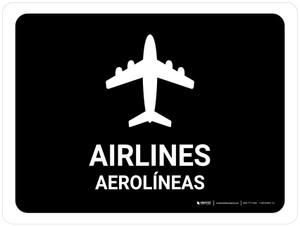 Airlines Black Bilingual Landscape - Wall Sign