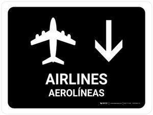 Airlines With Down Arrow Black Bilingual Landscape - Wall Sign