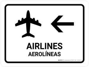 Airlines With Left Arrow White Bilingual Landscape - Wall Sign