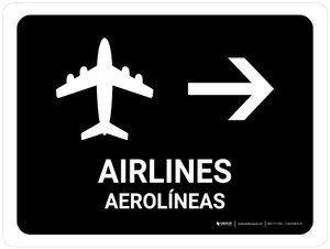 Airlines With Right Arrow Black Bilingual Landscape - Wall Sign