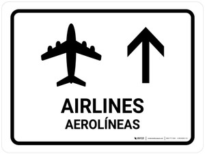 Airlines With Up Arrow White Bilingual Landscape - Wall Sign