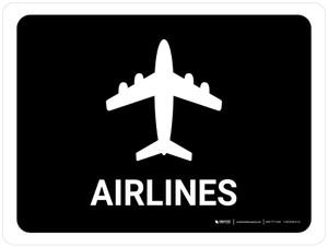 Airlines Black Landscape - Wall Sign