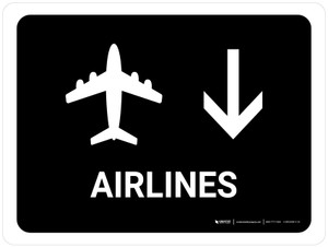 Airlines With Down Arrow Black Landscape - Wall Sign