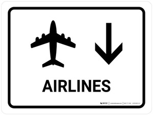 Airlines With Down Arrow White Landscape - Wall Sign