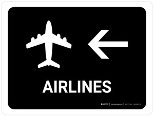 Airlines With Left Arrow Black Landscape - Wall Sign