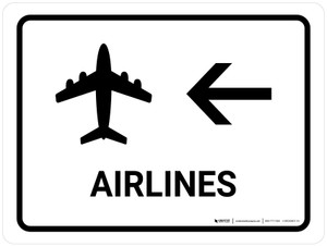 Airlines With Left Arrow White Landscape - Wall Sign