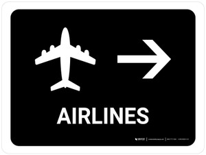 Airlines With Right Arrow Black Landscape - Wall Sign