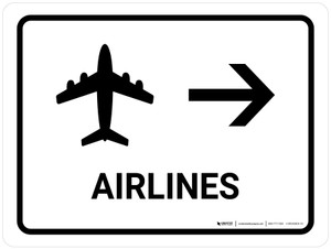 Airlines With Right Arrow White Landscape - Wall Sign