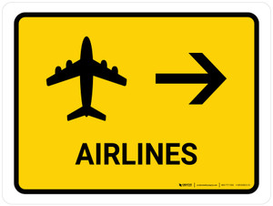 Airlines With Right Arrow Yellow Landscape - Wall Sign
