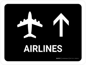 Airlines With Up Arrow Black Landscape - Wall Sign
