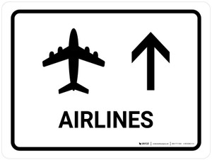 Airlines With Up Arrow White Landscape - Wall Sign