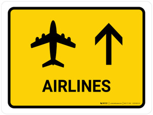 Airlines With Up Arrow Yellow Landscape - Wall Sign