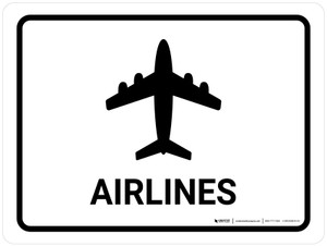 Airlines White Landscape - Wall Sign