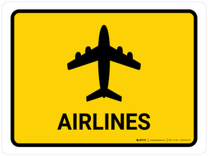 Airlines Yellow Landscape - Wall Sign