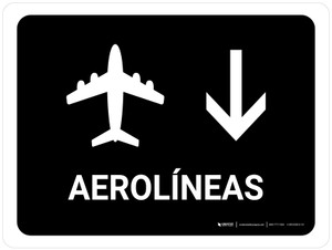 Airlines With Down Arrow Black Spanish Landscape - Wall Sign
